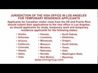 Jurisdiction of the visa office in Los Angeles for temporary residence applicants