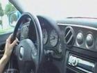 Pedal Pumping Debora woman driving flooring her car in heels